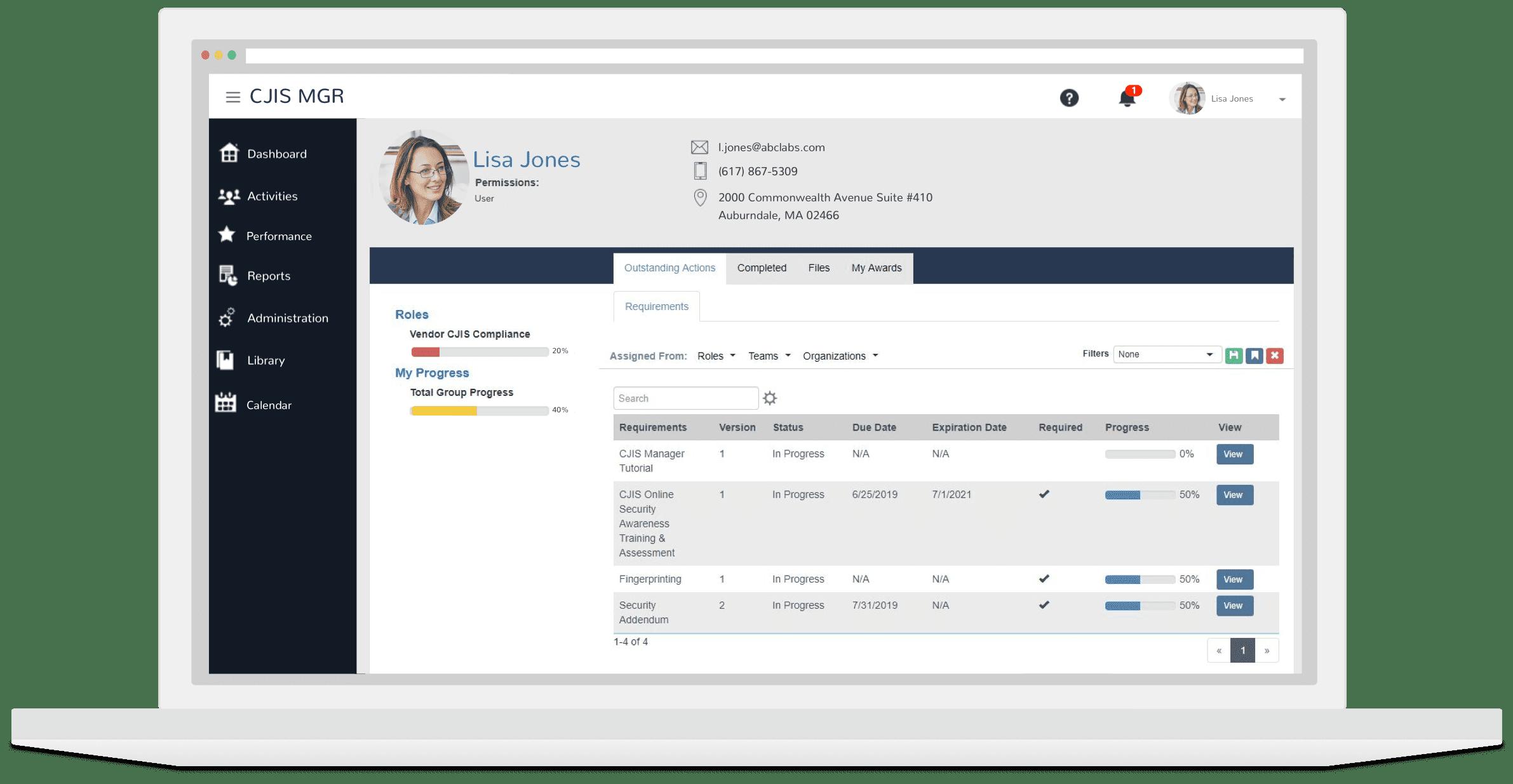 CABEM CJIS Vendor Tracking Software